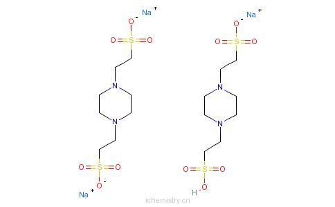 CAS:100037-69-2_哌嗪-N,N'-二(2-乙磺酸)倍半钠盐的分子结构
