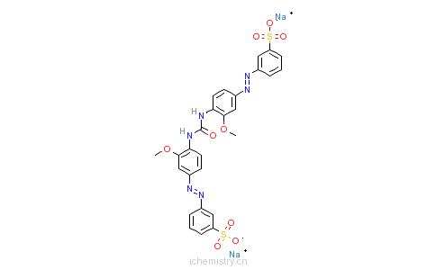 CAS:10114-86-0_3,3'-[碳酰双[亚胺基(3-甲氧基-4,1-亚苯基)偶氮基]]二苯磺酰钠的分子结构