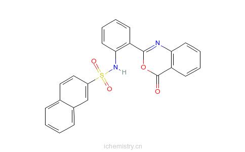 CAS:10128-55-9_N-[2-(4-氧代-4H-3,1-苯丙恶嗪-2-基)苯基]-2-萘磺酰胺的分子结构