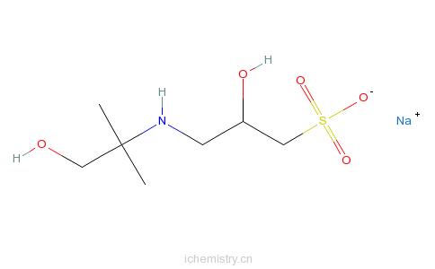 CAS:102029-60-7_3-((1,1-二甲基-2-羟基乙基)氨基)-2-羟基丙磺酸钠的分子结构