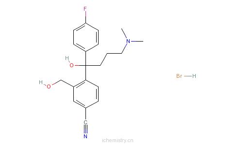 CAS:103146-26-5_4-[4-(二甲氨基)-1-(4-氟苯基)-1-羟丁基]-3-羟甲基苯腈氢溴酸盐的分子结构