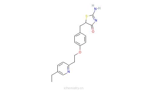 CAS:105355-26-8_5-{4-[2-(5-乙基-2-吡啶基)-乙氧基]-苄基}-2-亚氨基-4-噻唑烷酮的分子结构