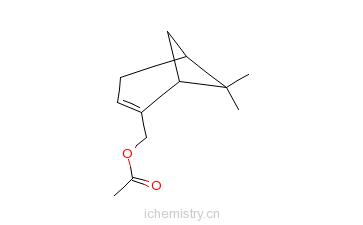 CAS:1079-01-2_(1S)-6,6-二甲基二环[3.1.1]庚-2-烯-2-基甲醇乙酸酯的分子结构