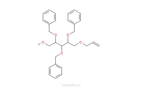 CAS:111549-97-4_5-O-烯丙基-2,3,4-三-O-苄基-D-核糖醇的分子结构