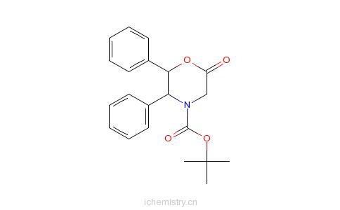 CAS:112741-49-8_(2R,3S)-N-叔丁氧羰基-2,3-二苯基吗啉-6-酮的分子结构
