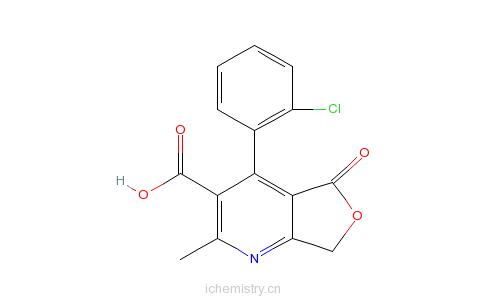 CAS:113994-39-1_4-(2-氯苯基)-5,7-二氢-2-甲基-5-氧代呋喃并[3,4-b]吡啶-3-甲酸的分子结构