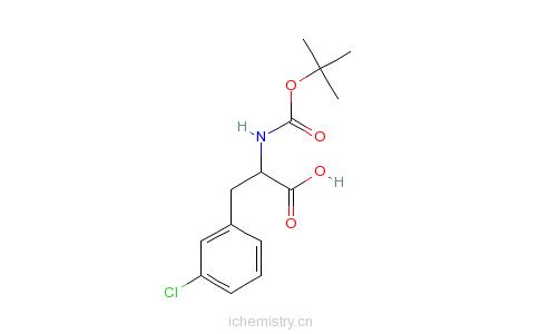 CAS:114873-03-9_N-叔丁氧羰基-L-3-氯苯丙氨酸的分子结构