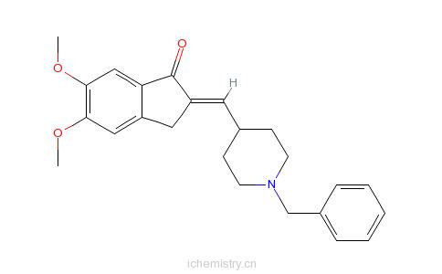 CAS:120014-07-5_1-苄基-4-(5,6-二甲氧基-1-茚酮-2-亚甲基)哌啶的分子结构