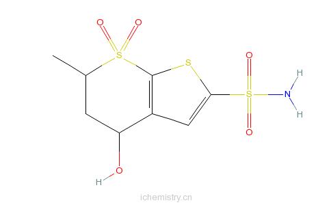 CAS:120279-26-7_5,6-二氢-4-羟基-6-甲基-4H-噻吩并[2,3-b]噻喃-2-磺酰胺7,7-二氧化物的分子结构