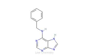 CAS:1214-39-7_6-苄氨基嘌呤的分子结构