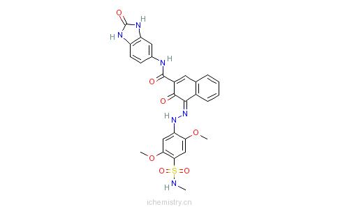 CAS:12225-08-0_N-(2,3-二氢-2-氧代-1H-苯并咪唑-5-基)-4-[[2,5-二甲氧基-4-[(甲基氨基)磺酰基]苯基]偶氮]-3-羟基-2-萘甲酰的分子结构