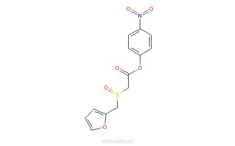 CAS:123855-55-0_alpha-(2-呋喃甲基亚磺酰基)乙酸-(4-硝基苯酚)酯的分子结构