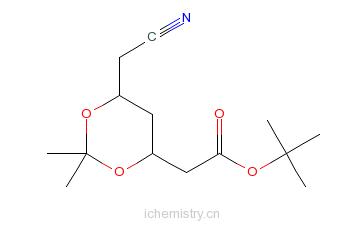 CAS:125971-94-0_(4R-cis)-6-氰甲基-2,2-二甲基-1,3-二氧六环-4-乙酸叔丁酯的分子结构