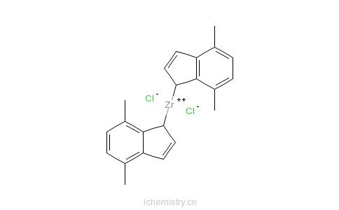CAS:130408-22-9_双(4,7-二甲基茚基)二氯化锆的分子结构