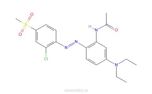 CAS:13301-60-5_N-[2-[(2-氯-4-甲磺酸基苯基)偶氮]-5-(二乙基氨基)苯基]乙酰胺的分子结构