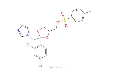 CAS:134071-44-6_顺式-[2-(2,4-二氯苯基)-2-(1H-咪唑-1-基甲基)-1,3-二氧戊环-4-基]甲醇对甲苯磺酸酯的分子结构