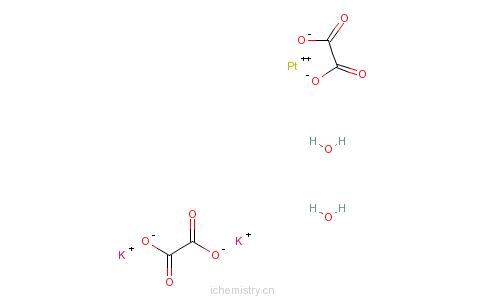 CAS:14244-64-5_二(氧醛酸根)铂(II)酸钾二水合物的分子结构