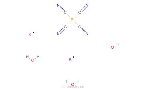 CAS:14323-36-5_四氰基铂(II)酸钾三水合物的分子结构