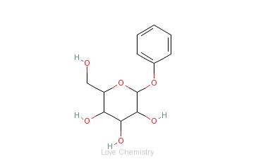 CAS:1464-44-4_苯基-β-D-葡萄糖吡喃糖苷水合物的分子结构