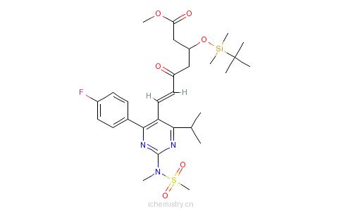 CAS:147118-38-5_7-[4-(4-氟苯基)-6-异丙基-2-(N-甲基甲磺酰胺基)-5-嘧啶]-(3R)-叔丁基二甲硅氧基-5-氧代-(6E)-庚酸甲酯的分子结构