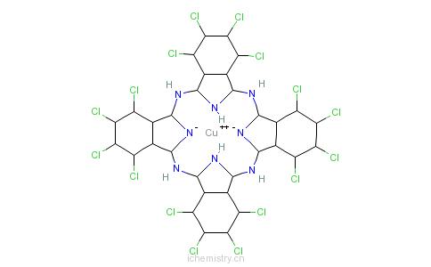 CAS:14832-14-5_[1,2,3,4,8,9,10,11,15,16,17,18,22,23,24,25-十六氯代-29H-31H-酞箐-N29,N30,N31,N32]铜的分子结构