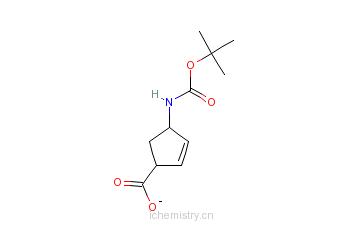 CAS:151907-79-8_(-)-(1S,4R)-N-叔丁氧羰基-4-氨基环戊-2-烯-1-甲酸的分子结构