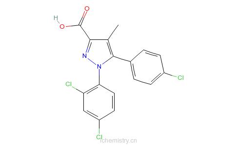 CAS:162758-35-2_1-(2,4-二氯苯基)-5-对氯苯基-4-甲基-吡唑-3-甲酸的分子结构