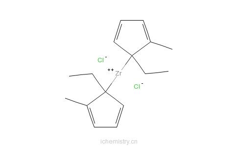CAS:168192-11-8_双(1-乙基-2-甲基环戊二烯)二氯化锆的分子结构