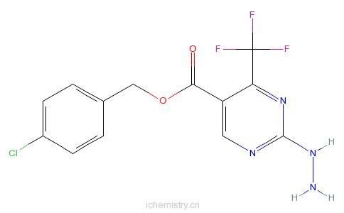 CAS:175137-33-4_5-(4-氯苄氧基羰基)-4-(三氟甲基)嘧啶-2-基肼的分子结构