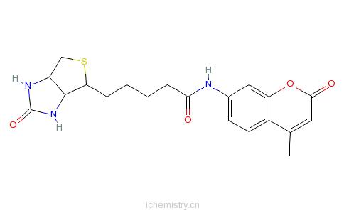 CAS:191223-35-5_N-D-生物素-7-氨基-4-甲基香豆素的分子结构