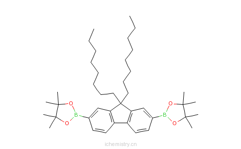 CAS:196207-58-6_2,7-二(4,4,5,5-四甲基-1,3-二氧-2-硼烷基)-9,9-二辛基芴的分子结构