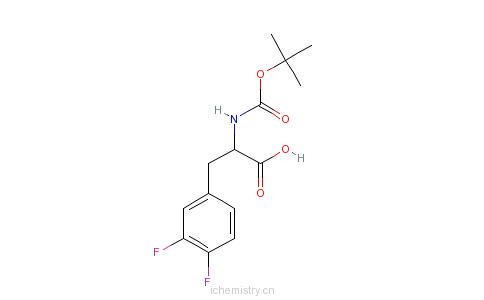 CAS:205445-51-8_BOC-D-3,4-二氟苯丙氨酸的分子结构