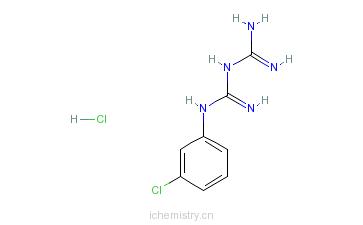 CAS:2113-05-5_1-(3-氯苯基)双胍盐酸盐的分子结构