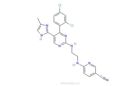 CAS:252917-06-9_6-[2-[4-(2,4-二氯苯基)-5-(4-甲基-1H-咪唑-2-基)嘧啶-2-基氨基]乙基氨基]吡啶-3-甲腈的分子结构