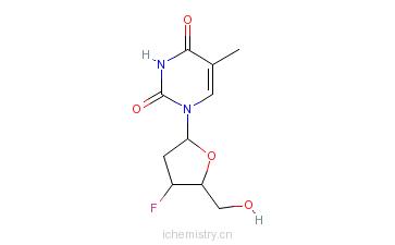 CAS:25526-93-6_3'-脱氧-3-氟胸苷的分子结构