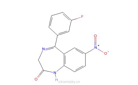 CAS:2558-30-7_5-(2-氟苯)-7-硝基-1,3-二水-2H-1,4-苯并氮杂卓-2-酮的分子结构