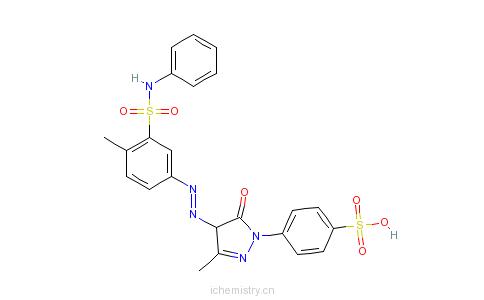 CAS:25739-67-7_4-[4,5-二氢-3-甲基-4-[[4-甲基-3-[(苯基氨基)磺酰基]苯基]偶氮]-5-氧-1H-吡唑-1-基]苯磺酸的分子结构