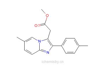 CAS:258273-50-6_6-甲基-2-(4-甲基苯基)咪唑[1,2-a]吡啶-3-乙酸甲酯的分子结构
