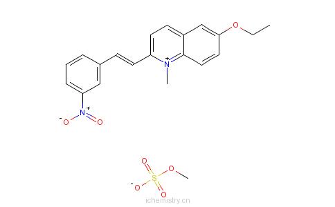 CAS:25910-85-4_6-乙氧基-1-甲基-2-(3-硝基苯乙烯基)喹啉硫酸甲酯盐的分子结构