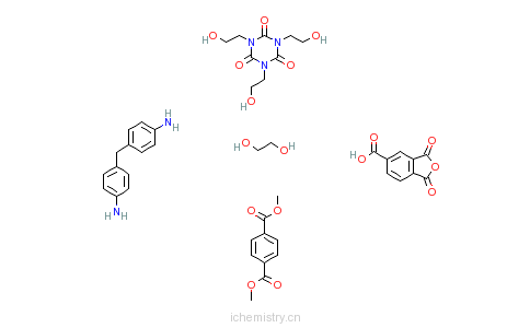 CAS:25950-45-2_1,4-苯二羧酸二甲酯与1,3-二氢-1,3-二氧代-5-异苯并呋喃羧酸、1,2-乙二醇、4,4'-亚甲基二(苯胺)和1,3,5-三(的分子结构