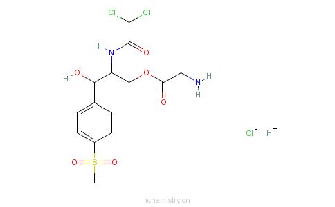 CAS:2611-61-2_甲砜霉素甘氨酸酯盐酸盐的分子结构