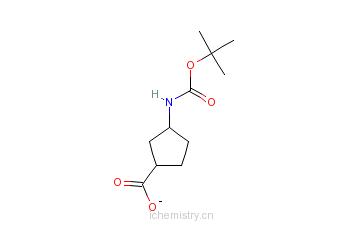 CAS:261165-05-3_(1R,3S)-N-boc-1-Aminocyclopentane-3-carboxylicacid(e.e.)的分子结构