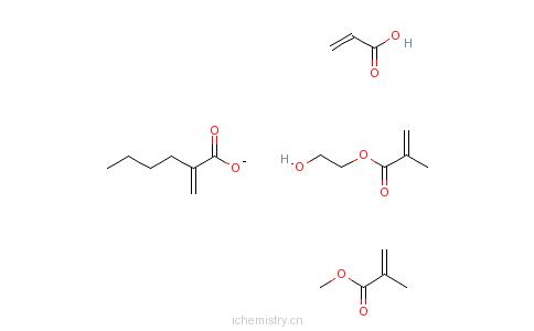CAS:26351-99-5_2-甲基-2-丙烯酸-2-羟乙酯单体与2-丙烯酸丁酯、2-甲基-2-丙烯酸甲酯和2-丙烯酸的聚合物的分子结构