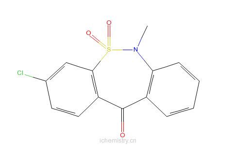 CAS:26638-53-9_3-氯-6-甲基二苯并[c,f][1,2]硫氮杂卓-11(6H)-酮5,5-二氧化物的分子结构