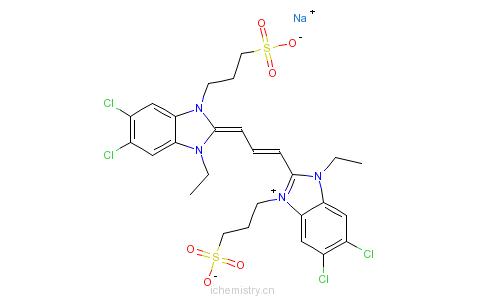 CAS:28272-54-0_5,6-二氯-2-[3-[5,6-二氯-1-乙基-1,3-二氢-3-(3-磺酸丙基)-2H-苯并咪唑-2-亚基]-1-丙烯基]-1-乙基-3-(3-磺?的分子结构