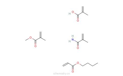 CAS:28575-53-3_2-甲基-2-丙烯酸与2-丙烯酸丁酯、2-甲基-2-丙烯酸甲酯和2-甲基-2-丙烯酰胺的聚合物的分子结构