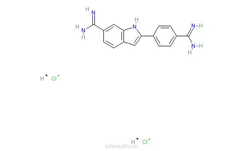 CAS:28718-90-3_4',6-二脒基-2-苯基吲哚二盐酸盐的分子结构