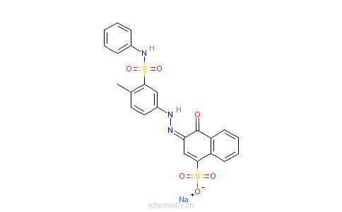 CAS:3058-98-8_4-羟基-3-[[4-甲基-3-[(苯基氨基)磺酰基]苯基]偶氮]-1-萘磺酸单钠盐的分子结构