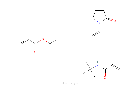 CAS:31229-87-5_2-丙烯酸乙酯与N-(1,1-二甲基乙基)-2-丙烯酰胺和1-乙烯基-2-吡咯烷酮的聚合物的分子结构