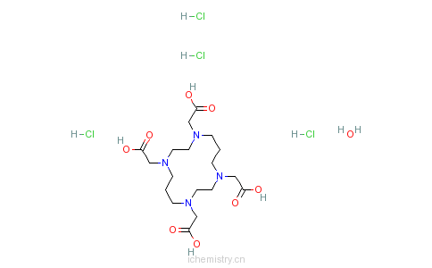 CAS:314041-07-1_1,4,8,11-四氮杂环十四烷-1,4,8,11-四乙酸四盐酸盐水合物的分子结构